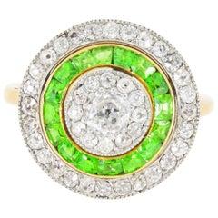 Edwardian Demantoid Garnet and Diamond Ring