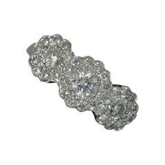 Edwardian Design Platinum and 0.8ct Diamond Triple Cluster Ring