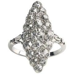 Edwardian Diamond 1.50 Carat Platinum Navette Cluster Ring