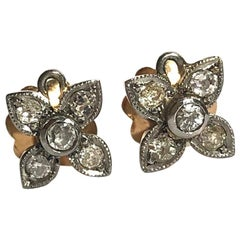 Edwardian Style Diamond, 18 Carat Gold and Platinum Flower Earrings