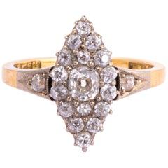 Edwardian Diamond, 18 Carat Gold and Platinum Marquise Ring