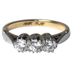 Edwardian Diamond, 18 Carat Gold and Platinum Three-Stone Ring