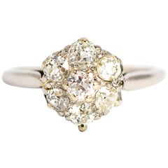 Edwardian Diamond 18 Carat White Gold Cluster Ring