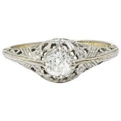 Edwardian Diamond 18 Karat White Gold Butterfly Engagement Ring