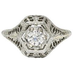 Edwardian Diamond 18 Karat White Gold Hexagonal Engagement Ring