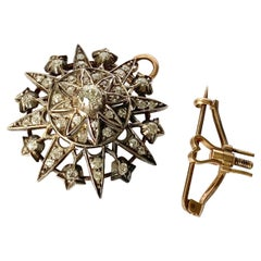Edwardian Diamond 9 Carat Gold Star Brooch or Pendant