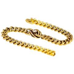Edwardian Diamond and 15 Carat Gold Curb Bracelet