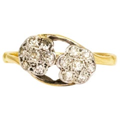 Edwardian Diamond and 18 Carat Double Cluster Ring