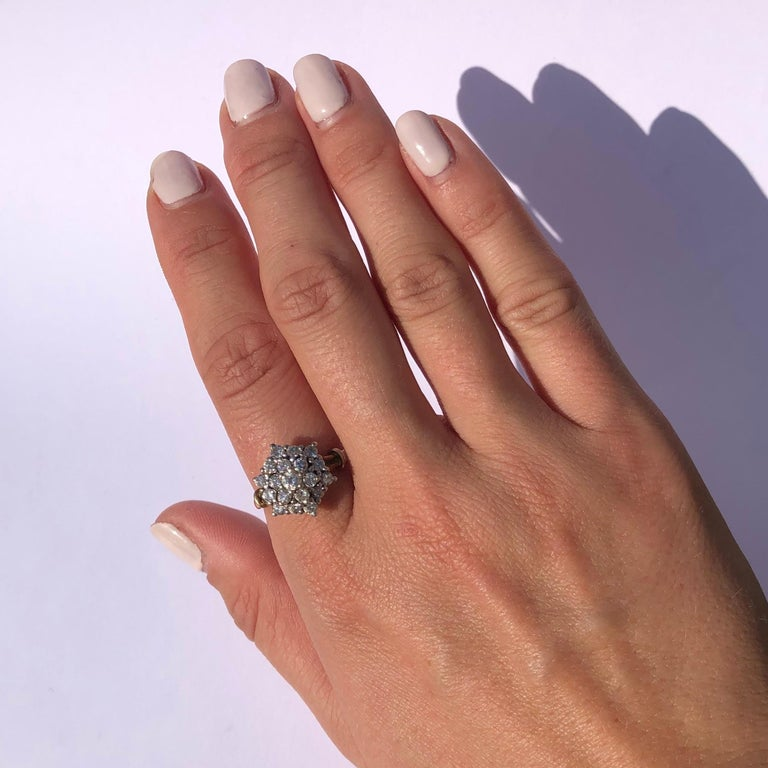 Women's Edwardian Diamond and 18 Carat Gold Cluster Ring