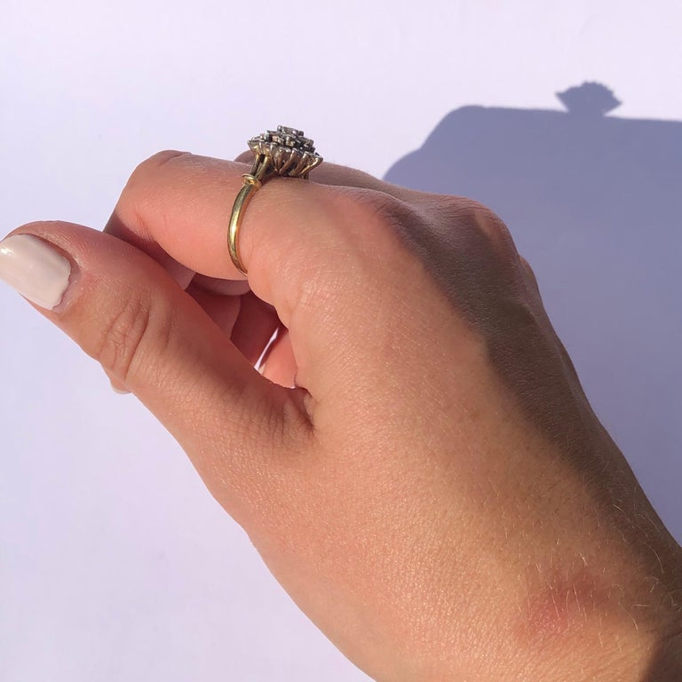 Edwardian Diamond and 18 Carat Gold Cluster Ring 2