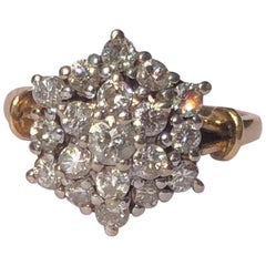 Edwardian Diamond and 18 Carat Gold Cluster Ring