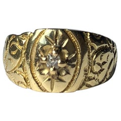 Edwardian Diamond and 18 Carat Gold Engraved Band