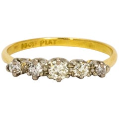Edwardian Diamond and 18 Carat Gold Five-Stone Ring