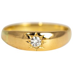 Edwardian Diamond and 18 Carat Gold Gypsy Ring