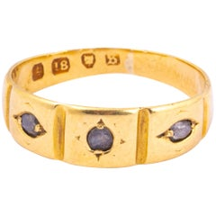 Edwardian Diamond and 18 Carat Gold Three-Stone Band