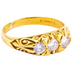 Edwardian Diamond and 18 Carat Gold Three-Stone Ring