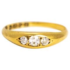 Edwardian Diamond and 18 Carat Gold Three-Stone Ring
