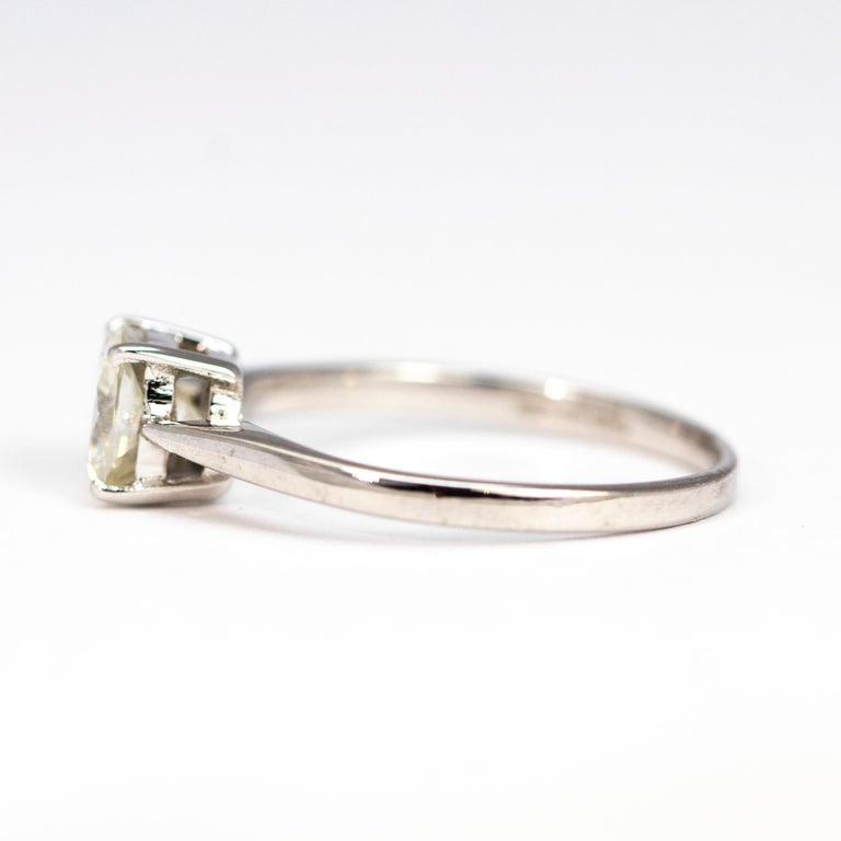 Edwardian Diamond and 18 Carat White Gold Solitaire In Excellent Condition For Sale In Chipping Campden, GB