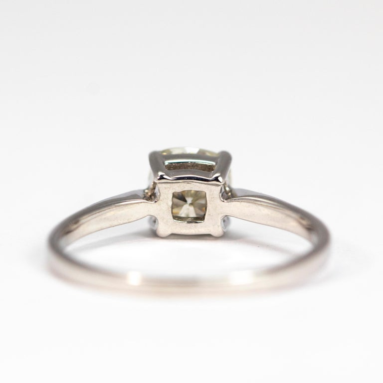 Women's Edwardian Diamond and 18 Carat White Gold Solitaire For Sale