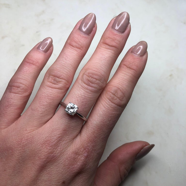 Edwardian Diamond and 18 Carat White Gold Solitaire For Sale 2