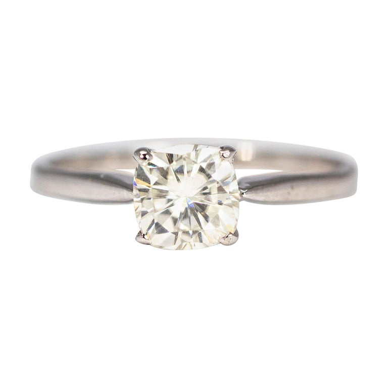 Edwardian Diamond and 18 Carat White Gold Solitaire For Sale