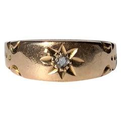 Edwardian Diamond and 9 Carat Gold Gypsy Ring