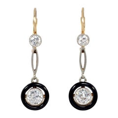 Edwardian Diamond and Black Enamel Drop Earrings in Platinum and Gold