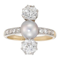 Edwardian Diamond and Cultured Pearl Three-Stone Ring