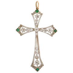 Edwardian Diamond and Emerald Cross