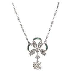 Edwardian Diamond and Emerald Garland Bow Necklace