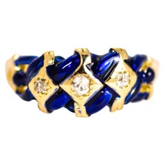 Edwardian Diamond and Enamel 15 Carat Gold Ring