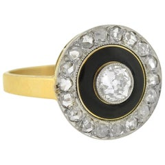 Edwardian Diamond and Enamel Ring