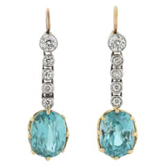 Edwardian Diamond and Natural Blue Zircon Mixed Metals Drop Earrings