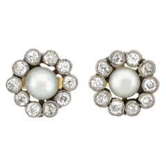 Edwardian Diamond and Natural Pearl Stud Earrings
