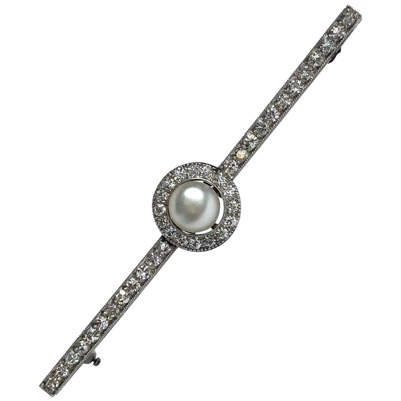 Edwardian Diamond and Pearl 18 Carat White Gold Bar Brooch