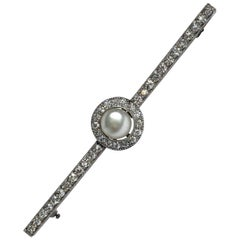 Edwardian Diamond and Pearl 18 Carat White Gold Bar Brooch