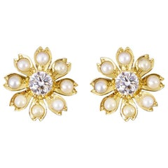 Edwardian Diamond and Pearl Flower Earrings in 18 Carat Yellow Gold