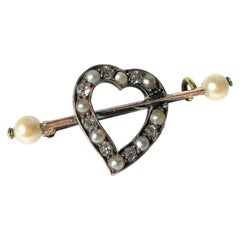 Edwardian Diamond and Pearl Witches Heart Brooch
