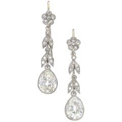 Edwardian Diamond and Platinum Earrings, circa 1910