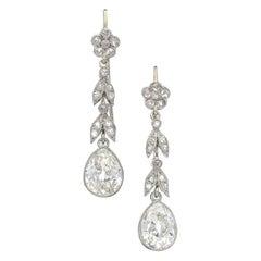 Edwardian Diamond and Platinum Earrings, circa 1910