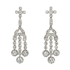 Edwardian Diamond and Platinum Girandole Style Pendant Earrings