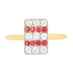 Edwardian Diamond and Ruby Cluster Ring, circa 1910