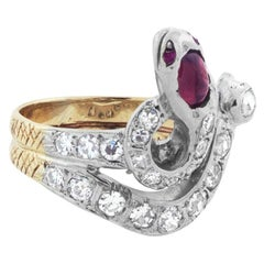 Edwardian Diamond and Ruby Snake Ring