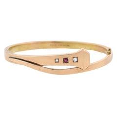 Edwardian Diamond and Ruby Square Head Nail Hinged Bangle Bracelet