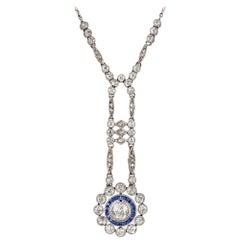 Edwardian Diamond and Sapphire Necklet