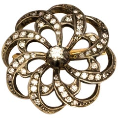 Edwardian Diamond and Yellow Gold Swirl Brooch
