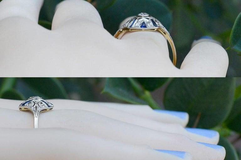 Old European Cut Edwardian Diamond Blue Sapphire Stripe Filigree Platinum Antique Engagement Ring