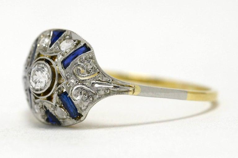 Edwardian Diamond Blue Sapphire Stripe Filigree Platinum Antique Engagement Ring In Good Condition In Santa Barbara, CA