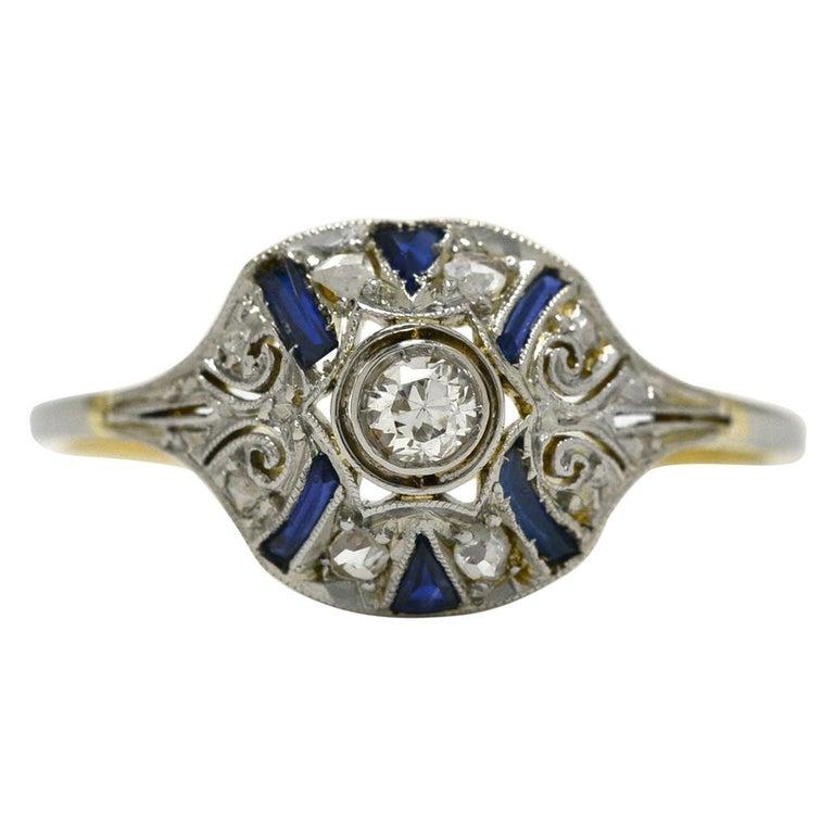 Edwardian Diamond Blue Sapphire Stripe Filigree Platinum Antique Engagement Ring