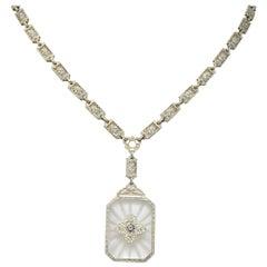 Edwardian Diamond Camphor Glass 14 Karat White Gold Drop Necklace